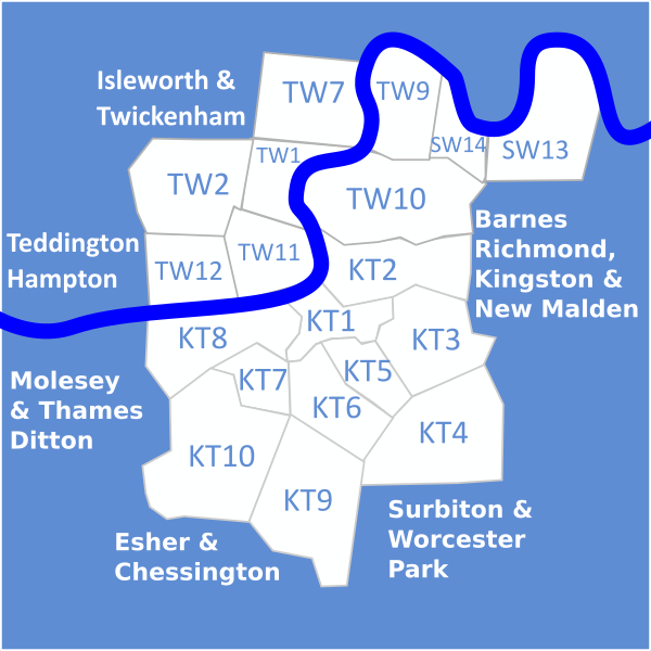 Map of Heating, Plumbing and Gas engineers covering Twickenham (TW1 & TW2), Teddington (TW11), Hampton (TW12), Richmond (TW9 & TW10), East Sheen (SW14), Barnes (SW13), Kingston (KT1 & KT2), New Malden (KT3), Worcester Park (KT4), Surbiton and Tolworth (KT5 & KT6), Thames Ditton (KT8), Chessington (KT9) and Esher (KT10)